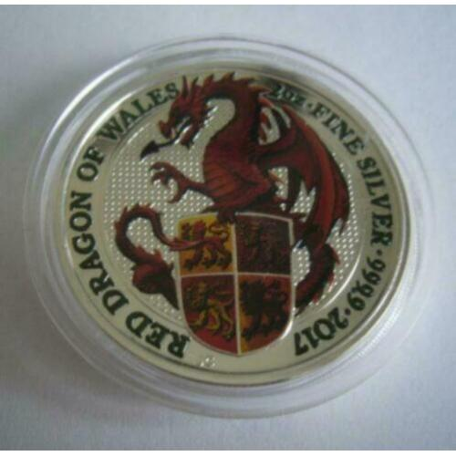 5 Pound 2017 Queens Beast Dragon of Wales Color - 2 Oz